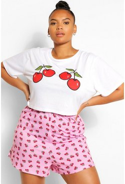 Pink Plus Cherry PJ Short Set