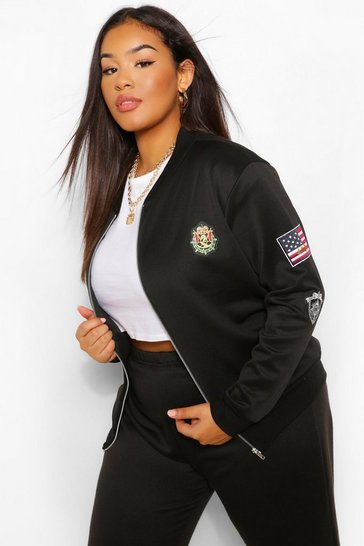 Black Plus Military Bomber Jacket