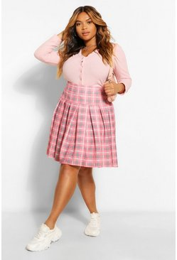 Baby pink pink Plus Check Printed Tennis Skirt