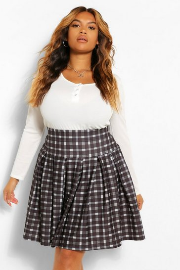 Black Plus Check Printed Tennis Skirt