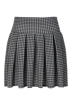 Black Plus Dogtooth Check Printed Tennis Skirt