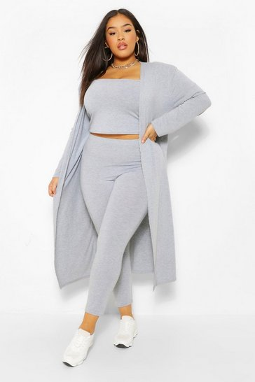 Grey marl grey Plus 3 Piece Legging and Cardigan