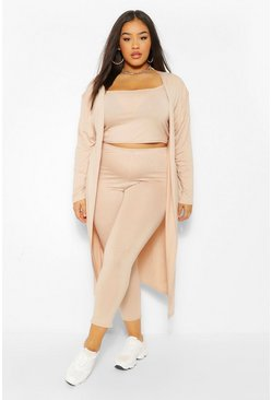 Stone beige Plus 3 Piece Legging and Cardigan