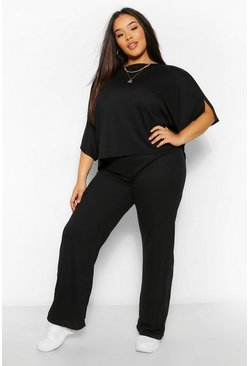 Black Plus Split Sleeve and Wide Leg Trousers Lounge Set