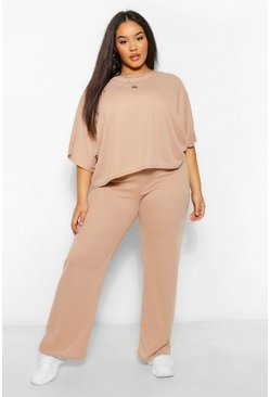 Stone beige Plus Split Sleeve and Wide Leg Trousers Lounge Set
