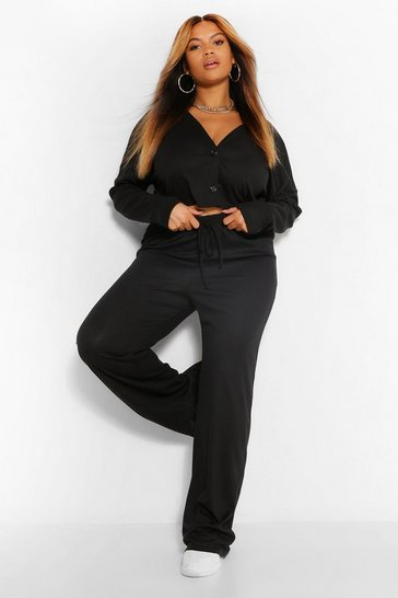 Black Plus Button Front Cardigan and Trouser Lounge Set