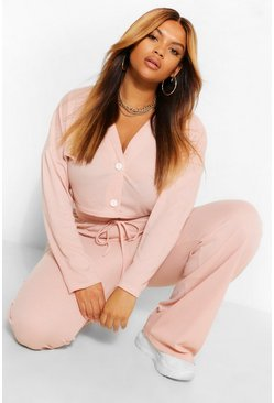 Blush pink Plus Button Front Cardigan And Pants Lounge Set