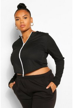 Black Plus Zip Rib Cardigan Longsleeve Top