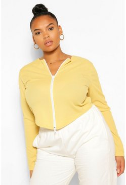 Yellow Plus Zip Rib Cardigan Longsleeve Top