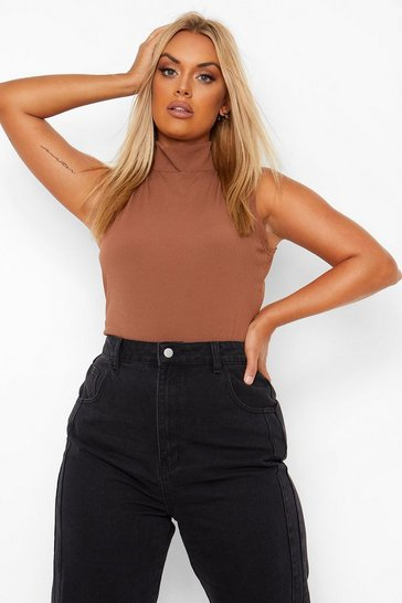 Brown Plus Funnel Neck Sleeveless Rib Top