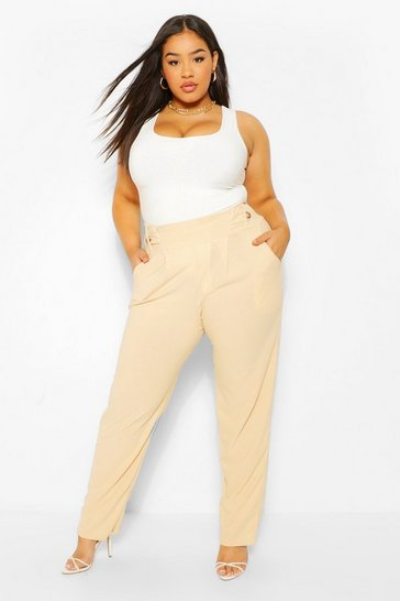Stone beige Plus Button Detail Tailored Trousers