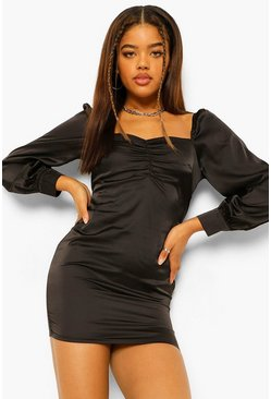 Black Petite Satin Volume Sleeve Ruched Front Dress