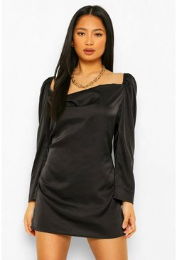 Black Petite Long Sleeve Cowl Neck Dress