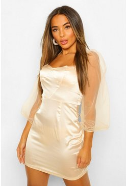 Champagne beige Petite Volume Sleeve Satin Corset Bodycon Dress