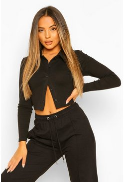 Black Petite Rib Collared Button Cardigan