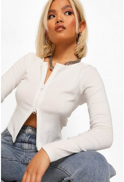 Ivory white Petite Zip Through Rib Top