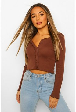 Chocolate brown Petite Frill Hem Rib Cardigan
