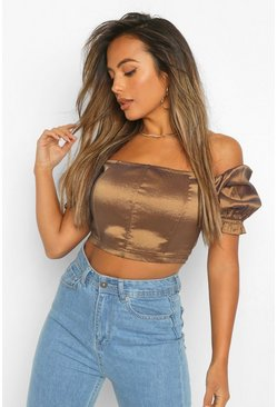 Bronze metallic Petite Puff Sleeve Off The Shoulder Crop Top