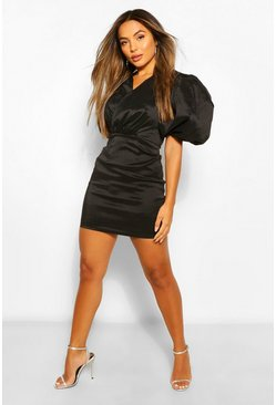 Black Petite Extreme Volume Sleeve Taffeta Wrap Dress