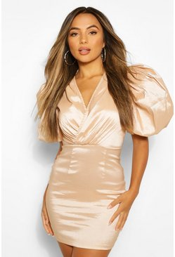 Champagne beige Petite Extreme Volume Sleeve Taffeta Wrap Dress