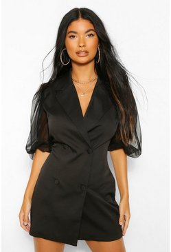 Black Petite Organza Volume Sleeve Blazer Dress