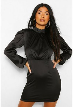 Black Petite Shoulder Pad High Neck Satin Mini Dress