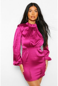 Magenta pink Petite Shoulder Pad High Neck Satin Mini Dress