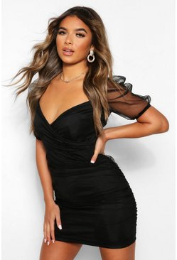 Black Petite Organza Volume Sleeve Wrap Bodycon Dress
