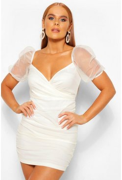 Ivory white Petite Organza Volume Sleeve Wrap Bodycon Dress