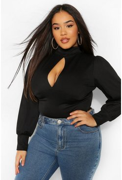 Black Plus High Neck Keyhole Bodysuit