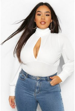 White Plus High Neck Keyhole Bodysuit