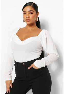 White Plus Puff Sleeve Sweetheart Neck Fitted Top