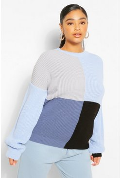 Blue Plus Colour Block Balloon Sleeve Jumper
