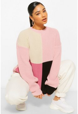 Pink Plus Colour Block Balloon Sleeve Jumper