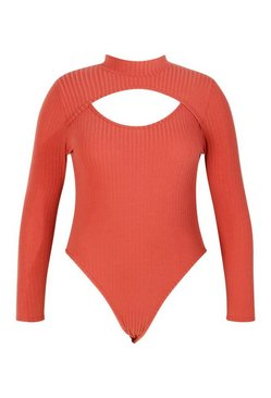 Rust Plus Soft Rib Cut Out Bodysuit