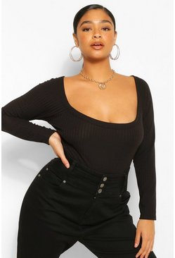 Black Plus Soft Rib Square Scoop Neck Bodysuit