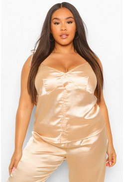 Champagne beige Plus Tie Shoulder Button Cami And Trouser Set