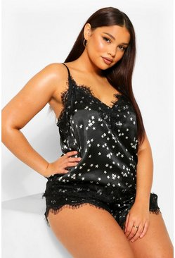 Black Plus Star Satin Eyelash Lace Cami And Short Set