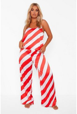 Red Plus Candy Cane Stripe Satin Cami And Trouser Set