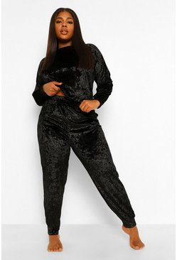 Black Plus Crushed Velvet Tracksuit