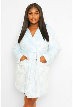 Blue Plus Snowflake Burnout Dressing Gown
