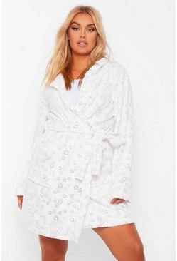 Ivory white Plus Glitter Star Fluffy Dressing Gown