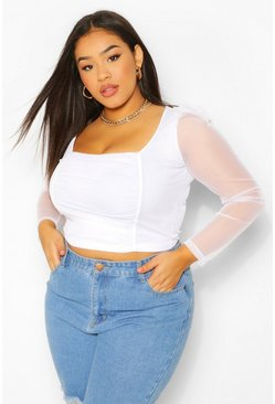 White Plus Square Neck Mesh Top