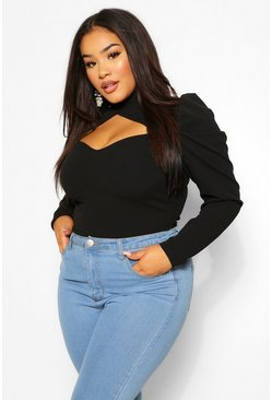 Black Plus Puff Sleeve Keyhole Bodysuit