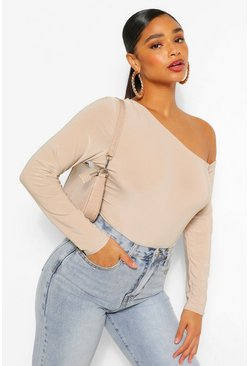 Stone beige Plus Asymmetric Off The Shoulder Bodysuit