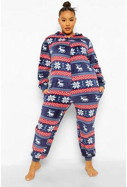 Navy Plus Fairisle Onesie