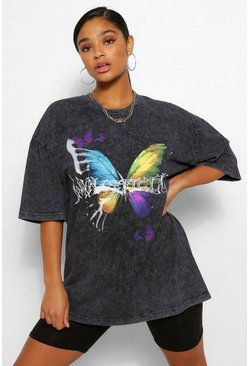 Charcoal grey Plus Acid Wash Butterfly Print T-Shirt