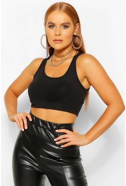 Black Petite Soft Rib Knitted Crop Top