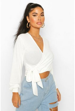 Ivory Petite Soft Rib Knitted Belted Wrap Top