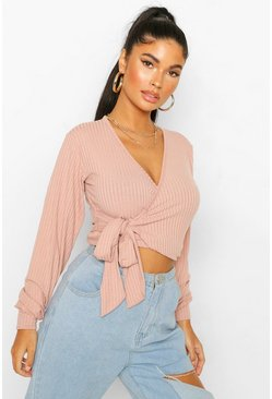 Rose Petite Soft Rib Knitted Belted Wrap Top